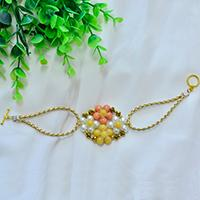How to Make a Beaded Flower and Gold PU Leather Cord Bracelet