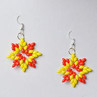 How to Make a Pair of Orange and Yellow 2-hole Seed Bead Snowflake Earrings