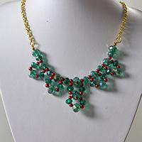 Free Tutorial on Making a Trendy Gold Chain and Green Glass Beaded Statement Necklace