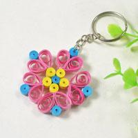 Pandahall Video Tutorial - How to Make a Pink Quilling Paper Flower Keychain