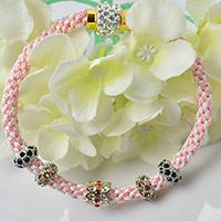 How to Make a Pink Nylon Thread Kumihimo Bracelet with European Rhinestone Beads