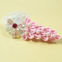 How to Make a Pink Ribbon Flower Hair Barrette for Little Girls