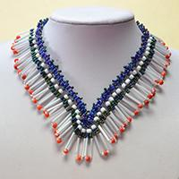 How to Make Delicate Bib Necklace with Round seed beads and Bugle Beads