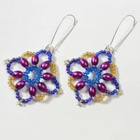 How to Make a Pair of Elegant Square Beaded Flower Drop Earrings Step by Step