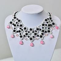 How to Make Delicate Beading Bib Necklace with Pearl and Jade Beads
