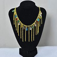 How to Make Gold Chain Tassel Necklace with Colorful Glass Drop Beads Dangles
