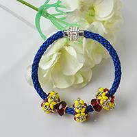 How to Make Blue Nylon Threads Kumihimo Bracelet with European Beads Decor