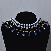 How to Make Black and White Beaded Choker Necklace with Blue Glass Drops
