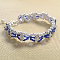 Summer Jewelry - How to Make a Woven Bracelet with White Pearl Beads and Blue Tube Beads