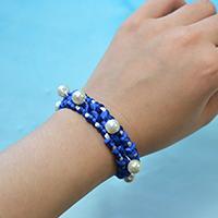 How to Make a Handmade Blue Nylon Thread Braided Friendship Bracelet