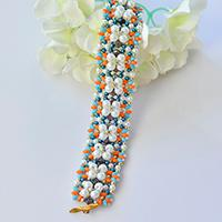 Pandahall Tutorial - How to Make a White Pearl and 2-Hole Seed Bead Flower Bracelet