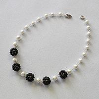 Pandahall Original DIY Project – Elegant White and Black Pearl Beaded Ball Necklace