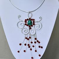 How to Make a Silver Aluminum Wire Wrapped Pendant Necklace with Glass Beads