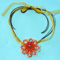 How to Make a Seed Bead Flower Necklace with Orange Ribbon and Black Leather Cords