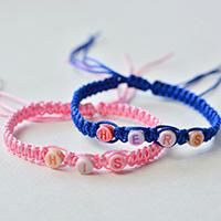 How to Make Square Knot Braided Couple Bracelet with Alphabet Beads