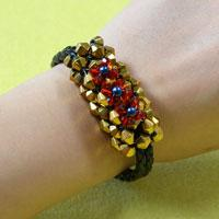 How to Make a Golden Bead and Black Leather Cord Bracelet for Men