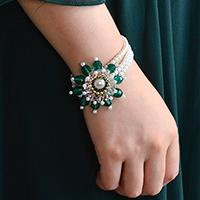 Pandahall Original DIY - How to Make a Handmade Three-strand White Pearl Bracelet with Green Flower