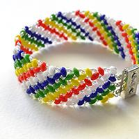 How to Make a Handmade Rainbow 2-Hole Seed Beaded Wide Bracelet for Summer