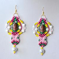 Pandahall Tutorial - How to Make a Pair of Thread Braided and Bead Drop Earrings