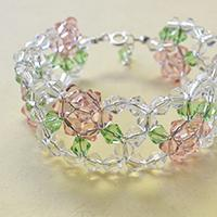 How to Make a Pink and Clear Glass Bead Flower Bracelet for Girls