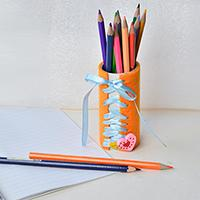 How to Make a Homemade Felt Pen Holder with Paper Rolls and Ribbon for Kids
