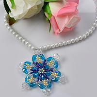 How to Make a Blue Glass Beaded Snowflake Pendent Necklace for Summer
