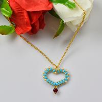 How to Make a Blue 2-Hole Seed Bead Heart Pendant Necklace with Golden Chain