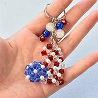 How to Make Easy Heart Beading American Flag Keychain with Glass Beads