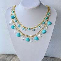 Instruction on How to Make Chain Necklace with Glass Beads and Heart Turquoise Beads