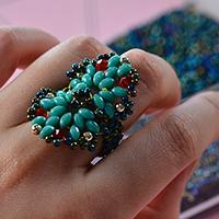 Pandahall Tutorial on How to Make a Blue 2-Hole Seed Bead Ring