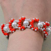 Free Instructions on Making an Orange 2-hole Seed Bead and White Pearl Woven Bracelet