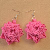 How to Make Rose Flower Dangle Earrings with Grosgrain Ribbon