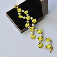 Instruction on How to Make Pearl Flower Bracelet with Yellow 2-Hole Seed Beads