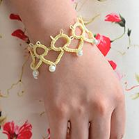 How to Make a Handmade Yellow String Flower Friendship Bracelet with White Pearl Beads