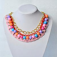 How to Make Delicate Bib Necklace for Women with Acrylic Beads and Chain