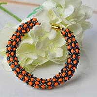 Pandahall Tutorial on How to Make a Handmade Orange 2-Hole Seed Bead Column Bracelet