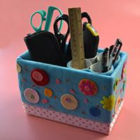 How to Make a Lovely Desk Organizer from Recycled Box and Paper Rolls