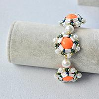 How to Make Unique Beading Ball Bracelet with Orange Acrylic Bead for Women
