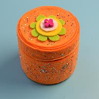 How to Make an Orange Felt Storage Box with Recycled Box, Felt, Sequins and Wood Flower Beads