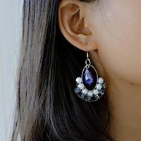 How to Make a Pair of Simple Blue Crystal Hoop Drop Earrings for Summer