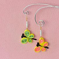 How to Make Quilling Paper Butterfly Dangle Earrings with Pearl Beads for Kids