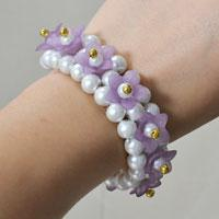 How to Make a Beautiful Purple Acrylic Flower Beaded Bracelet for Girls