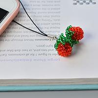 Detailed Pandahall Tutorial on How to Make Red Seed Bead Stitch Strawberry Phone Hanging Ornaments