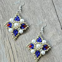 How to Make Delicate Beading Square Earrings with Pearl and 2-Hole Seed Beads