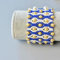 Detailed Tutorial on How to Make a Blue Seed Bead Stitch Wide Bracelet with Yellow Pearl Beads