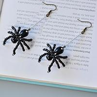 Pandahall Instruction on How to Make a Pair of Beaded Spider Earrings for Halloween
