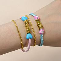 How to Make a Pair of Pink and Light Cyan Cord and Golden Chain Bracelets for Lovers