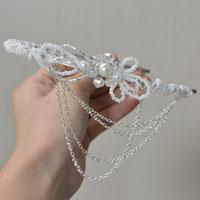 How to Make a White Pearl Wedding Headband with Glass and Seed Beads
