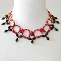 Pandahall Tutorial on How to Make Red Pearl Necklace with Black Glass Beads