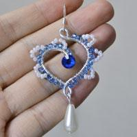 How to Make Wire Wrapped Heart Dangle Earrings with Seed Beads and Pearl Beads